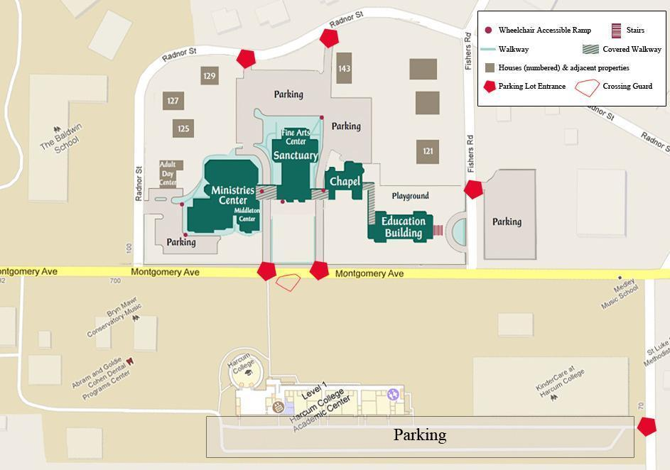 Rosemont College Campus Map.Map And Parking Bryn Mawr Presbyterian Church