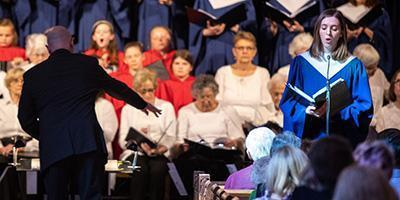 Music and fine arts director Jeffrey Brillhart serves as conductor of a concert at Bryn Mawr Presbyterian