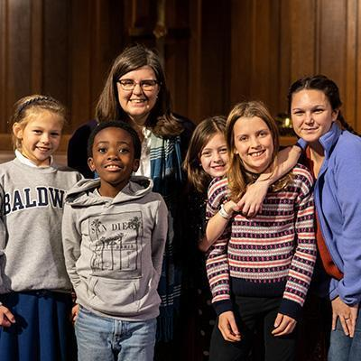 Children participate in Wednesdays Together program with the Rev. Rachel Pedersen, asociate pastor for Children and Family Ministry