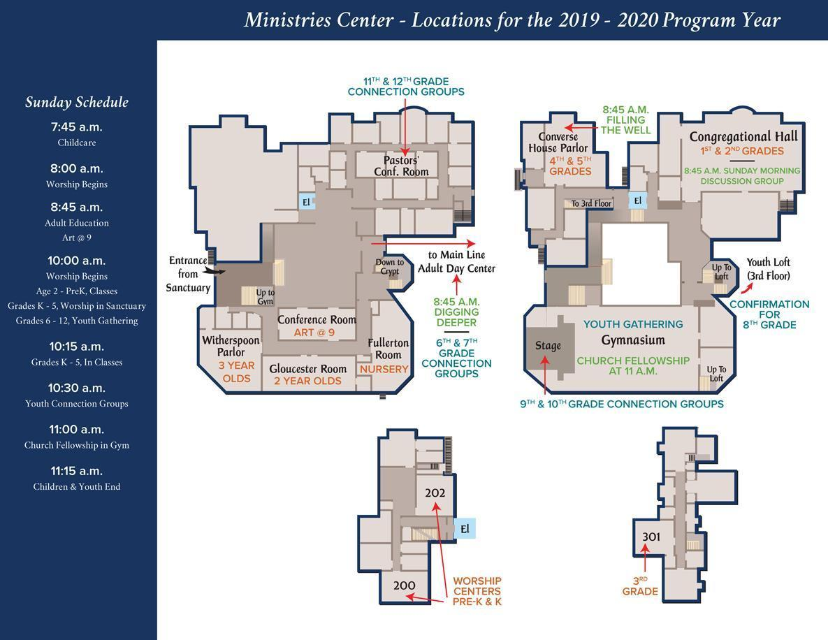 Ministries Center Map with the Sunday Schedule